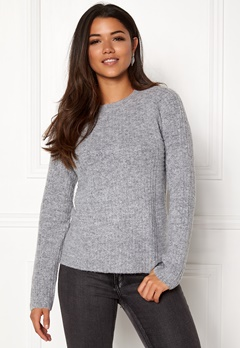 OBJECT Nonsia Rib Knit Pullover Light Grey Melange Bubbleroom.fi