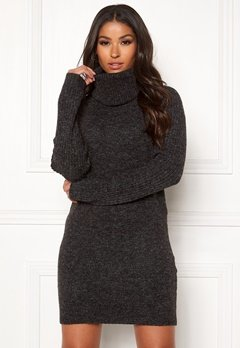 OBJECT Nonsia Rib Rollneck Dress Dark Grey Melange Bubbleroom.se