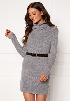 OBJECT Nonsia Rib Rollneck Dress Light Grey Melange Bubbleroom.se