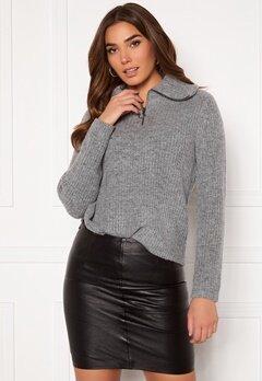 OBJECT Rachel L/S Knit Pullover Light Grey Melange Bubbleroom.se