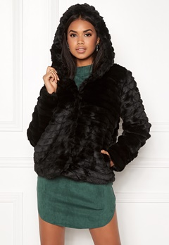 OBJECT Sandie Faux Fur Jacket Black Bubbleroom.se