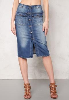 OBJECT Seven Denim Skirt Medium Blue Denim Bubbleroom.dk