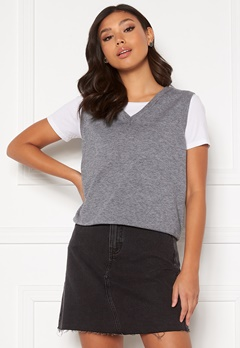 Object Collectors Item Thess S/L Knit Waistcoat Medium Grey Melange Bubbleroom.se