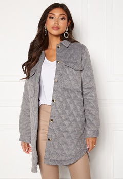 OBJECT Vera owen long quilt jacket Medium Grey Melange Bubbleroom.se