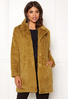OBJECT Violet L/S Faux Fur Coat Buckthorn Brown Bubbleroom.se