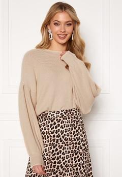 OBJECT Violette L/S Knit Pullover Sandshell Bubbleroom.se