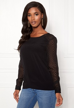 OBJECT Zoe L/S Top Black Bubbleroom.se