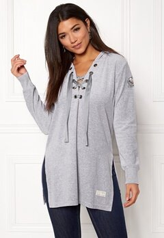 Odd Molly Get Along Hood Sweater Light Grey Melange Bubbleroom.dk