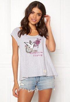 Odd Molly Print Love T-shirt Grey Melange Bubbleroom.se