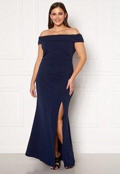 Goddiva Curve Off Shoulder Maxi Curve Dress Navy Bubbleroom.se
