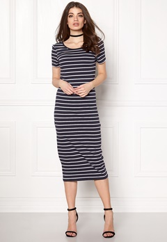 ONLY Abbie Stripe Calf Dress Night Sky Stripe Bubbleroom.fi