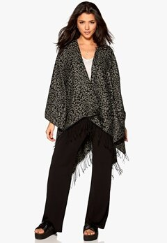 ONLY Agatha Weaved Leo Poncho Charcoal Gray Bubbleroom.se