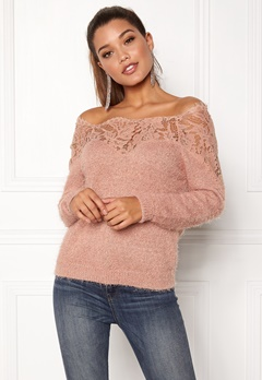 ONLY Ally L/S Pullover Knit Mahogany Rose Bubbleroom.fi