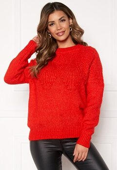 ONLY Anelia L/S Pullover Fiery Red Bubbleroom.se