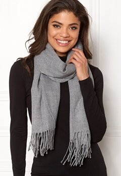 ONLY Anna Weaved Scarf Light Grey Melange Bubbleroom.no