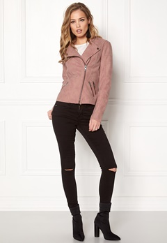 ONLY Ava Faux Leather Biker Ash Rose Bubbleroom.se