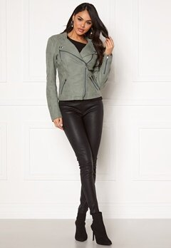 ONLY Ava Faux Leather Biker Chinois Green Bubbleroom.se