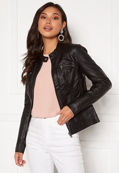 ONLY Bandit Faux Leather Biker Black Bubbleroom.se