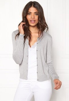 ONLY Bella L/S Button Cardigan Light Grey Melange Bubbleroom.fi