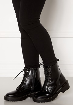ONLY Bold PU Lace Up Boot Black Bubbleroom.se