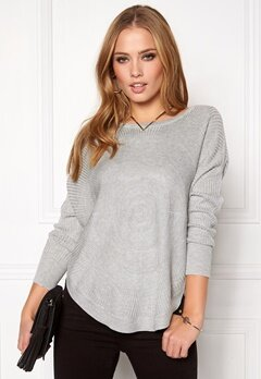 ONLY Bridget l/s Pullover Knit Light Grey Melange Bubbleroom.fi