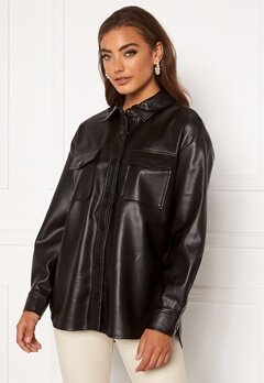 ONLY Brylee-Dionne Faux Leather Shirt Black Bubbleroom.se