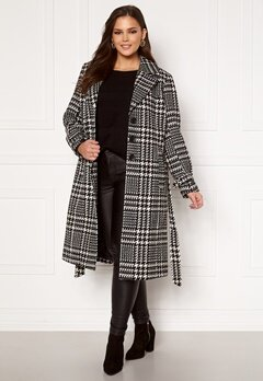 Only Carmakoma Fandanga LS Long Coat Black, AOP Bubbleroom.se