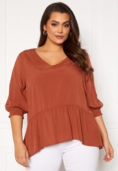Only Carmakoma Lota 3/4 V-Neck Top Arabian Spice Bubbleroom.se