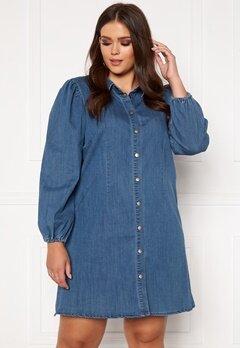 Only Carmakoma Ontan Life LS Knee Dress Dark Blue Denim bubbleroom.se