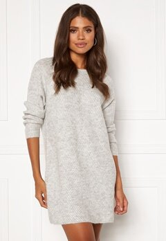 ONLY Carol L/S Dress Knit Light Grey Melange Bubbleroom.se