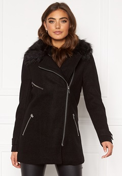 ONLY Carol Wool Fur Biker Coat Black Bubbleroom.se