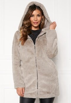ONLY Chris Fur Hooded Coat Ash Bubbleroom.se