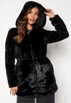 ONLY Chris Fur Hooded Coat Black Bubbleroom.se
