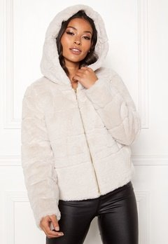 ONLY Chris Fur Hooded Jacket Pumice Stone Bubbleroom.se