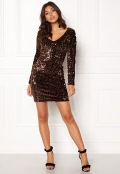 ONLY Confidence Bodycon Dress Black Sequins Copper Bubbleroom.fi