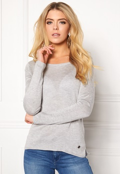 ONLY Cosy L/S String Pullover Light Grey Melange Bubbleroom.fi