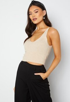 ONLY Cozy S/L Cropped Top Knit Pumice Stone bubbleroom.se