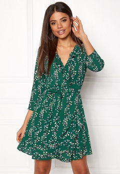 ONLY Ditte 3/4 Wrap Dress Posy Green Bubbleroom.se