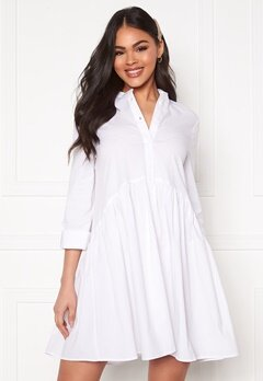 ONLY Ditte Fold Up 3/4 Shirt Dress White Bubbleroom.se