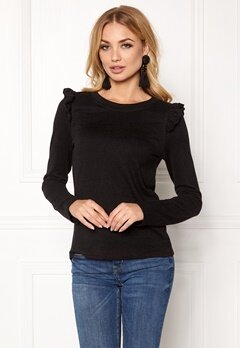 ONLY Elcos L/S Frill Top Black Bubbleroom.se
