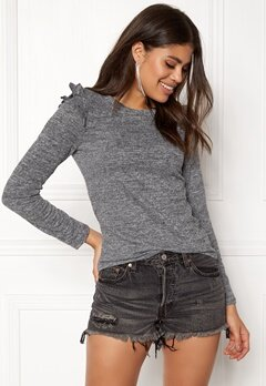 ONLY Elcos L/S Frill Top Dark Grey Melange Bubbleroom.fi