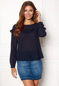 ONLY Elena L/S Ruffle Top Night Sky Bubbleroom.fi