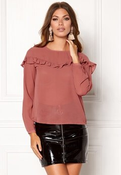 ONLY Elena L/S Ruffle Top Whithered Rose Bubbleroom.se