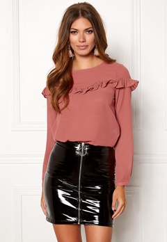 ONLY Elena L/S Ruffle Top Whithered Rose Bubbleroom.dk
