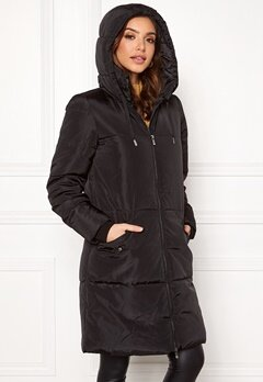 ONLY Elin Long Nylon Coat Black Bubbleroom.se
