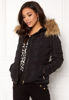ONLY Ellan quilted Fur Jacket Black Bubbleroom.se