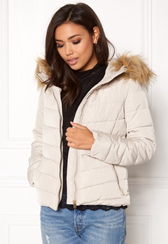 ONLY Ellan quilted Fur Jacket Pumice Stone Bubbleroom.se