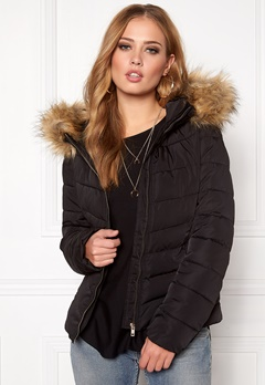 ONLY Ellan Quilted Hood Fur Black Bubbleroom.se