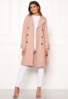 ONLY Emilia Long Trenchcoat Rose Smoke Bubbleroom.se
