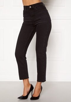 ONLY Emily HW Raw Ank Jeans Black Denim Bubbleroom.se